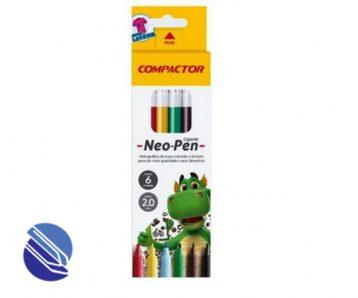 Canetinha Hidrográfica Compactor Neo-Pen Gigante - 06 cores