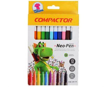 Canetinha Hidrográfica Compactor Neo-Pen Gigante - 12 cores
