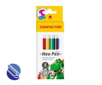 Canetinha Hidrográfica Compactor Neo-Pen Mirim - 06 cores