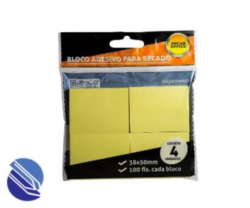Bloco Adesivo 38 mm x 51 mm c04 blocos Jocar Cor Amarelo