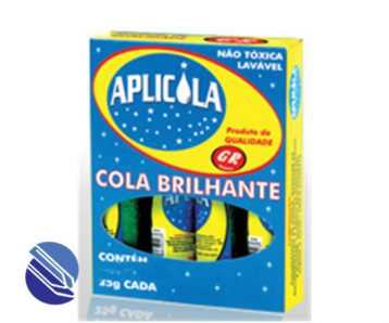 Cola Brilhante c Gliter cx. c 04 frs. c 25 g. Aplicola