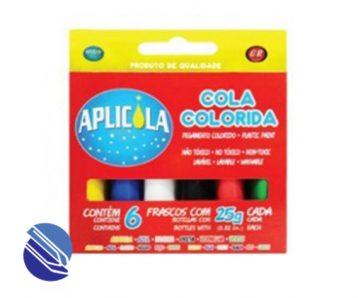 Cola Colorida cx. c 06 frs. c 25 g. Aplicola